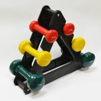Цветные гантели с подставкой FitLogic Home Vinyl Dumbbell Set