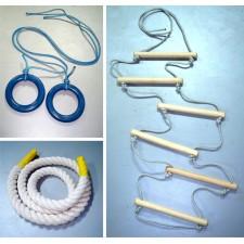 Комплект детского навесного оборудования (канат, гимнастические кольца, веревочная лестница) /Навесное/